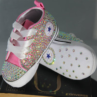 Baby Baptism/ Christening Custom Converse- Crystal/ Pearl Studded Shoes- Baby Shower Gift Set- Baby Boy Shoes- Baby Girl Shoes- Size NB & Up