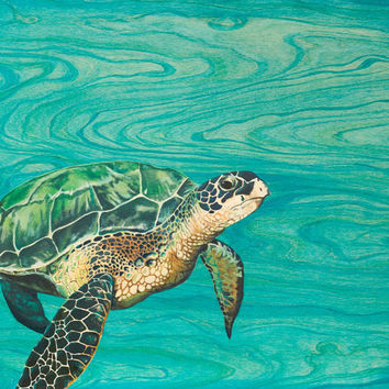 "Honu Sea Turtle Painting Fine Art Print  24x30"" SALE 30% OFF"