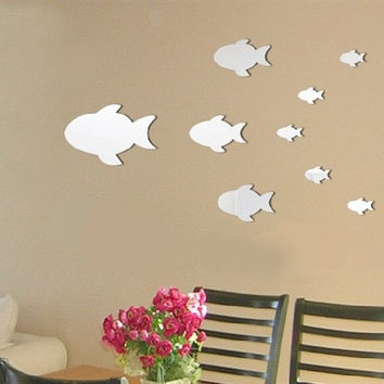 Wall Sticker Mirror Children Bedroom Bathroom Decoration Fish Tank [4918607620]