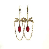Dragonfly Earrings - Victorian Jewelry - Ruby Red Glass - Art Nouveau Oxidized Brass Chandelier