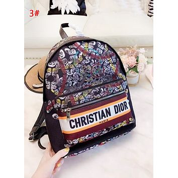 DIOR Fashion New Letter Print Multicolor Retro Women High Quality Leisure Backpack Bag 3#