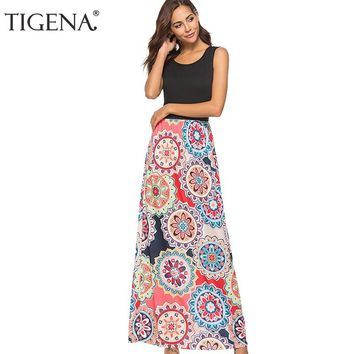 TIGENA Vintage Print Long Maxi Dress Women Summer Sundress Fit and Flare Sleeveless Bohemian Boho Beach Dress Robe Femme