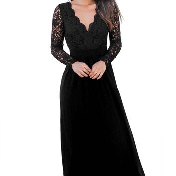 Black Open Back Long Sleeve Crochet Maxi Party Dress