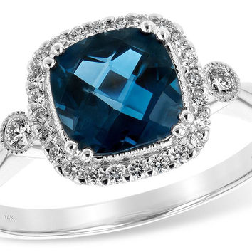 14K White Gold Cushion Cut London Blue Topaz and Diamond Halo Ring