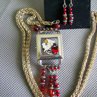 ON SALE Steampunk Watch Pendant on Silver Chain, Red beads w/Matching Earrings, hand made