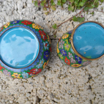 Antique Chinese cloisonné - 2 pieces of early 20th century Chinese art - vintage decor - vase and bowl blue