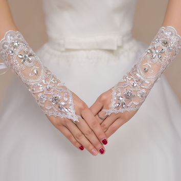 White Lace Rhinestone Patchwork Fingerless Gloves