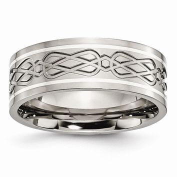 Men's Titanium Sterling Silver Inlay Celtic Knot Flat Polished Wedding Band Ring