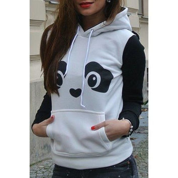 Fresh Style Ear Shape Hooded Panda Print Fleece Pullover Hoodie For Women