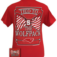New Tied To NC State Wolfpack Big Prep Bow Girlie Bright T Shirt