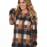 Plaid Button Light Sweater