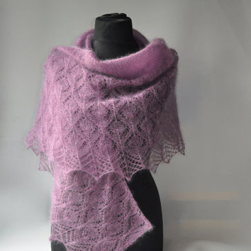 Purple Hand Knit Shawl, Lavender Knit Shawl, Wedding Knit Shawl, Mauve Shawl