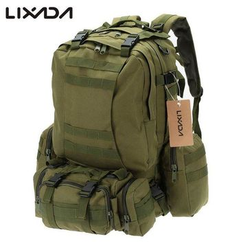 ONETOW Lixada 50L Outdoor Military Molle Tactical Bag Rucksack Backpacks Vintage Hiking Camping Camouflage Water Resistant Bags 600D