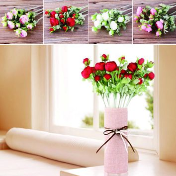 10pcs 3 Bouque silk flower European Artificial Flowers Fall Vivid Peony Fake Leaf Wedding Home Party Decoration