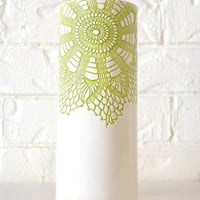 Tall Green Vase, handmade