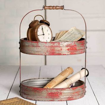 Two Tier Red Serving Caddy