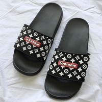 Louis Vuitton LV x Supreme Men Fashion Slipper Flats Shoes