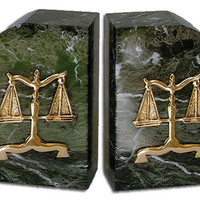 Lawyer Profession Scales of Justice Marble Bookends - 4572