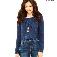 Aeropostale Womens Long Sleeve Cropped Sweater - Blue,