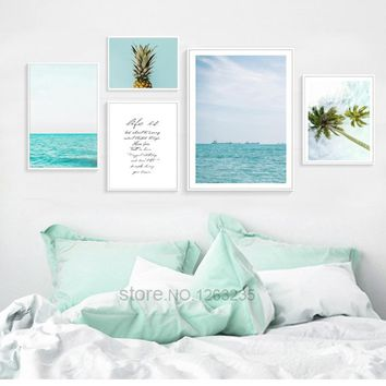 Pineapple Nordic Poster Blue Seawater Posters And Prints Dandelion Coconut Canvas Art Wall Pictures For Living Room Unframed