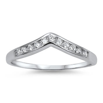 925 Sterling Silver CZ Stackable Pointed Tiara Ring 4MM