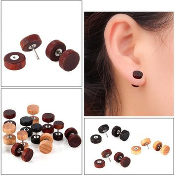 Sale 1Pair Natural Wooden Barbell Punk Classtic Ear Stainless Steel Studs Double Side Boys Girls Earring  Retro Jewelry Gifts