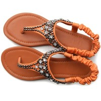 Ollio Womens Crystal Beads Thong Elasticized Ankle Strap Flip Flops Sandals