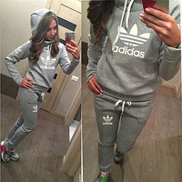 Casual Print Hoodie Top Sweater Pants Trousers Set Two-piece Sportswear Grey
