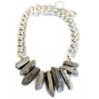 Silver Crystal Chain Necklace