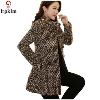 Women's Plaid Coat Winter Wool Jacket Long Coats For Ladies Woollen Jackets Korean Thickening Clothes LZ883