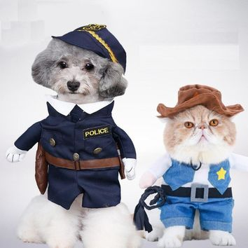 Funny Pirate / Police style Pet Cat Costumes  Uniform Suit Pet Cloth  Dogs cats hat Pet Supplies  for Small Cat Pet