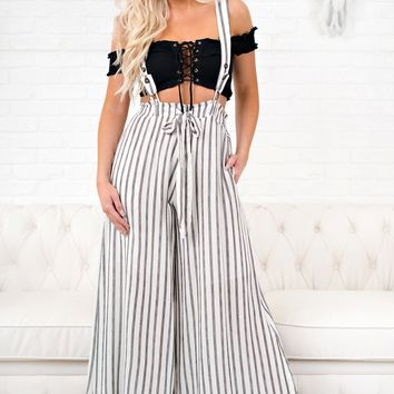 City Girl Striped Overall Pants (Off White)