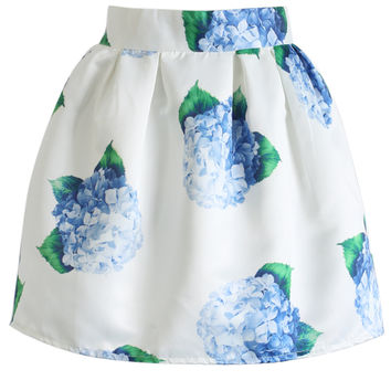 Blue Bouquet Print Mini skirt Blue S/M