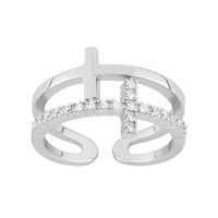 Cubic Zirconia Sterling Silver Sideways Cross Ring (White)