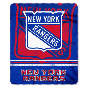 New York Rangers NHL Light Weight Fleece Blanket (Fadeaway Series) (50inx60in)