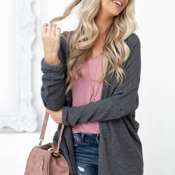 Leah Soft Knit Cardigan | Charcoal