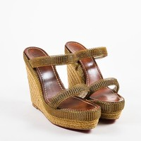 DCCK Christian Louboutin Beige and Gold Toned Chainmaille Espadrille Cadena Sandals