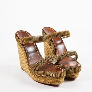 PEAP Christian Louboutin Beige and Gold Toned Chainmaille Espadrille Cadena Sandals