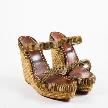 PEAPU2C Christian Louboutin Beige and Gold Toned Chainmaille Espadrille Cadena Sandals