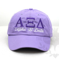 Alpha Xi Delta Sorority Baseball Cap - Custom Color Hat and Embroidery.