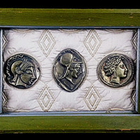 Collectible Antique  Coin Wall Hanging Art in Painted  Green Frame     Free Shipping!!!