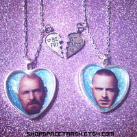 Breaking Bad Friendship Necklaces / Jesse Pinkman and Walter White / BFF Best Friend Necklaces