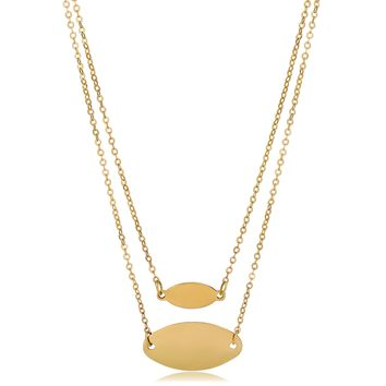 14K Yellow Gold Graduated Oval Disc Layered Necklace, 18""