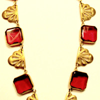 Czech Art Deco Necklace Gold Ruby Red Faceted Square Glass Stones