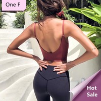 One F Thin Strapes Sports Bra For Women Gym Wireless Medium Impact Ballet Crop Top Sexy Open Back Fitness Yoga Bralette 2018