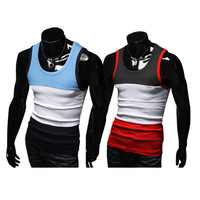 Color Blocked Slim Fit Mens Fashion Tank Top