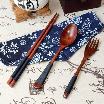 Portable Travel Outdoor Natural Wooden Chop sticks Teaspoons Tableware Dinnerware Set Vintage + Blue Bag Dining Sushi Tool#YY