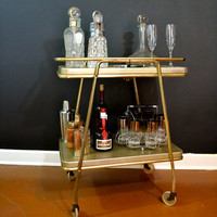 Vintage Gold Bar Cart, Hollywood Regency 2 Tier Cart with Removable Metal Shelves, Mid Century Rolling Cart