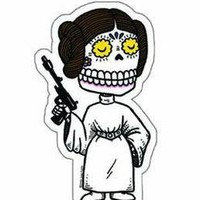 DAY OF THE DEAD SUGAR SKULL STAR WARS PRINCESS LEIA COLLECTABLE ARTWORK STICKER | eBay