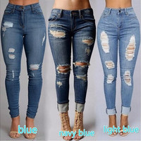 Women's fashion Sexy High Waist Pencil Jeans Casual Blue Ripped Denim Pants Lady Long Skinny Slim Maxi Jeans Trousers [8072705479]
